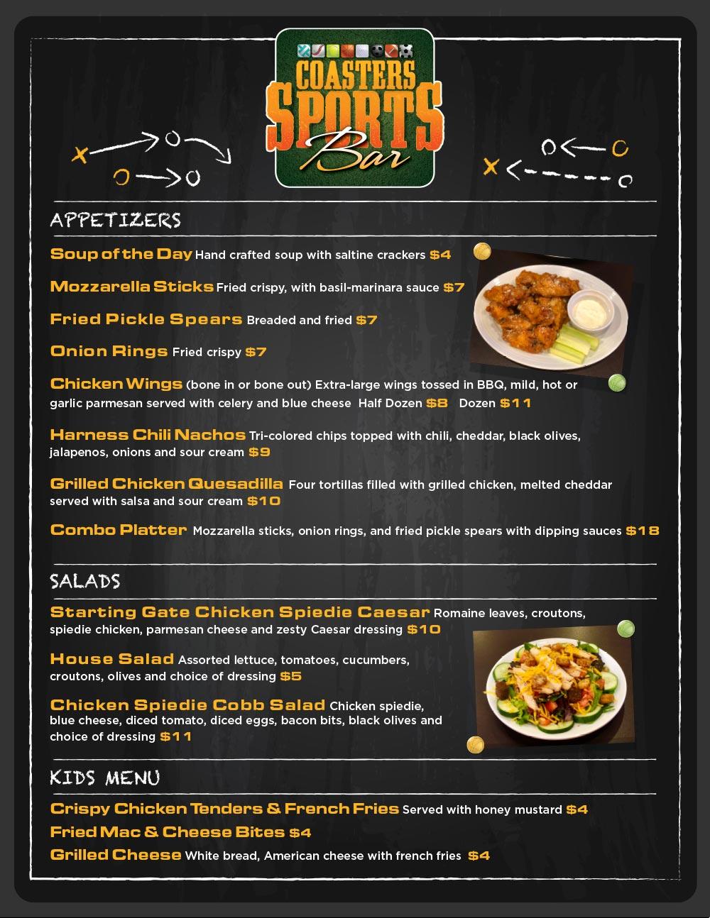 Coasters Sports Bar Main Menu Page 1