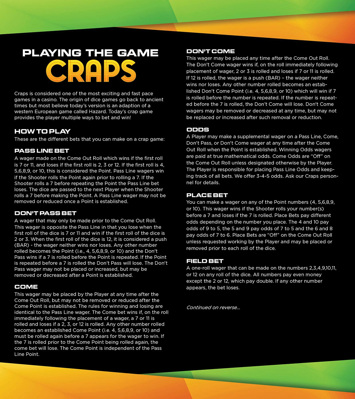 Craps Playing Guide