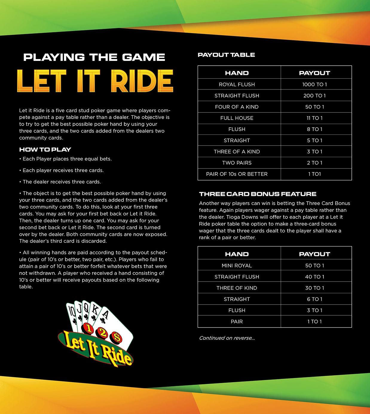 Let It Ride Playing Guide